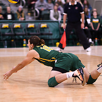 2nd year libero Dryden Wall (18) of the Regina Cougars in action during Men's Volleyball home game on November 18 at Centre for Kinesiology, Health and Sport. Credit: Arthur Ward/Arthur Images