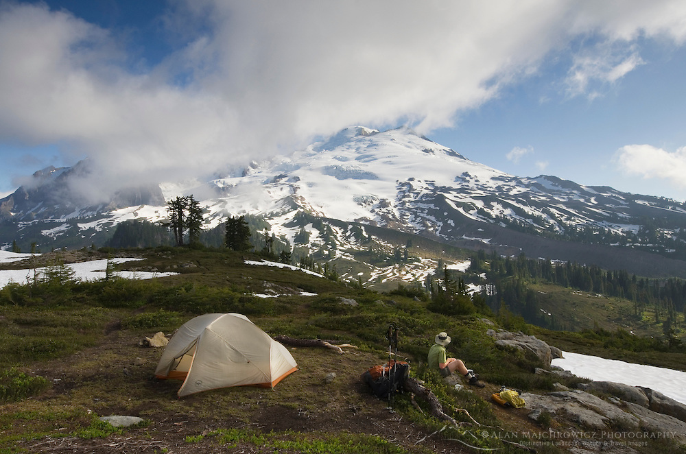Backcountry campsite on park Butte, Mount Baker Wilderness, North Cascades Washington