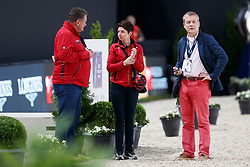 KOENE Marc (Tierarzt GER), THEODORESU Monica (Bundestrainer Dressur GER), KRUMHOFF Jobst (GER)<br /> Paris - FEI World Cup Finals 2018<br /> Dressurtraining<br /> www.sportfotos-lafrentz.de/Stefan Lafrentz<br /> 12.04.18