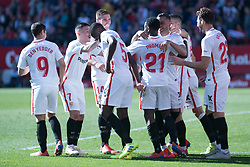 January 26, 2019 - Sevilla, Andalucia, Spain - Sevilla players celebrate the 5th goa from Sevilla FC during the La Liga match between Sevilla FC v Levante UD at the Ramon Sanchez Pizjuan Stadium on January 26, 2019 in Sevilla, Spain  (Credit Image: © Javier MontañO/Pacific Press via ZUMA Wire)