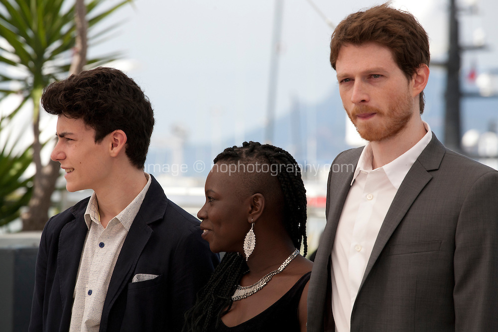 Actors Louka Minnella, Nadege Ouedraogo and Olivier Bonnaud at The Unknown Girl (La Fille Inconnue)  film photo call at the 69th Cannes Film Festival Wednesday 18th May 2016, Cannes, France. Photography: Doreen Kennedy