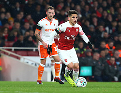 October 31, 2018 - London, England, United Kingdom - London, UK, 31 October, 2018.Lucas Torreira of Arsenal.During Carabao Cup fourth Round between Arsenal and Blackpool at Emirates stadium , London, England on 31 Oct 2018. (Credit Image: © Action Foto Sport/NurPhoto via ZUMA Press)