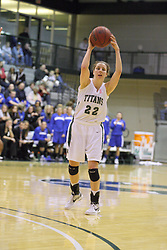 16 February 2013:  Michelle Bilek during an NCAA women's division 3 basketball game between the Millikin Big Blue and the Illinois Wesleyan Titans in Shirk Center, Bloomington IL