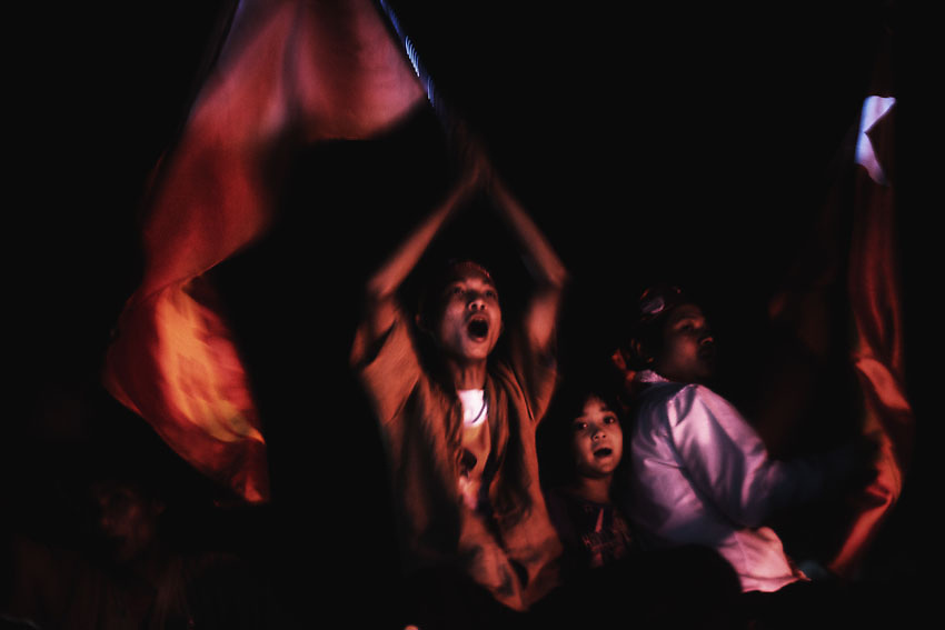 Supporters celebrate the NLD victory after the April 1st by-elections. Yangon, Myanmar 2012