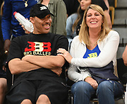 LaVar Ball and Tina Ball share a laugh during a Drew League basketball game, Saturday, June 8, 2019, in Los Angeles.  (Dylan Stewart/Image of Sport)