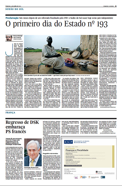 "Tearsheet (Feature story and photo) of ""South Sudan: O primeiro dia do Estado n.193"" published in Expresso"