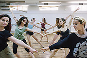 Daily rehearsal before a performance at the training room of Kosovo Ballet, Kosovo National Theater, Pristina. The Kosovo Ballet is the national ballet from Republic of Kosovo. The first troupe was formed in 1972, but later it was banned during the years of conflict by the Serbian authority. In 2001, after many years of absence, the ballet activity was restored.