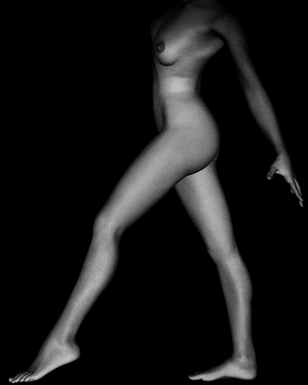 Silvie is a professional classical dancer with beautiful lines and contours. This black and white photo shows Silvie in a classical pose. This pose makes her lower body the focal point through the shadows and the high contract between the black background and her skin tone. All of the curves on her body are also highlighted through contrast, which makes this classical pose beautiful and the photo interesting. The nudity and the pose create a cohesive idea of vulnerability and confidence again through contrast. The pose and the focal point will make onlookers ponder and consider the photo fine art.
