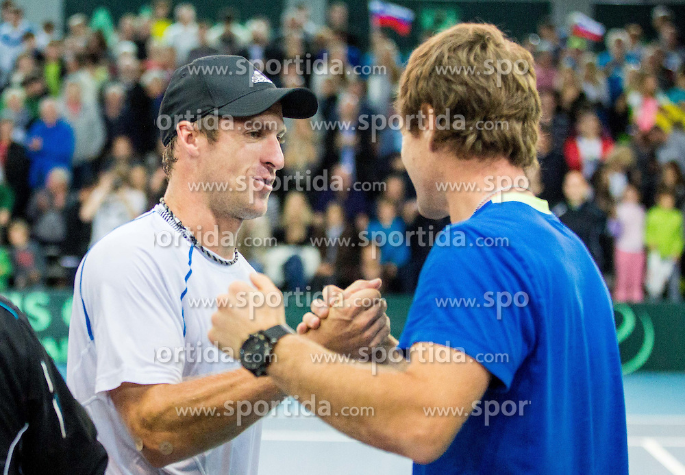 Grega Zemlja and Blaz Kavcic of Slovenia during Davis Cup Slovenia vs Lithuania competition, on October 30, 2015 in Kranj, Slovenia. Photo by Vid Ponikvar / Sportida