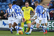 Danny Wright in the middle of the U's defence during the EFL Sky Bet League 2 match between Colchester United and Cheltenham Town at the Weston Homes Community Stadium, Colchester, England on 6 January 2018. Photo by Antony Thompson.