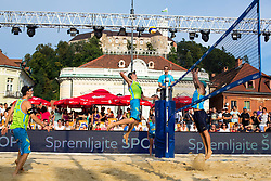 Jan Pokersnik vs Jure Peter Bedrac at Beach Volleyball Challenge Ljubljana 2014, on August 2, 2014 in Kongresni trg, Ljubljana, Slovenia. Photo by Matic Klansek Velej / Sportida.com