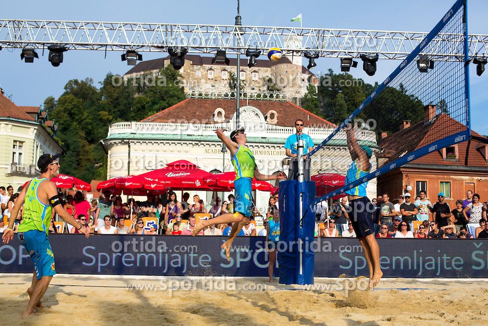 Jan Pokersnik vs Jure Peter Bedrac at Beach Volleyball Challenge Ljubljana 2014, on August 2, 2014 in Kongresni trg, Ljubljana, Slovenia. Photo by Matic Klansek Velej / Sportida.com