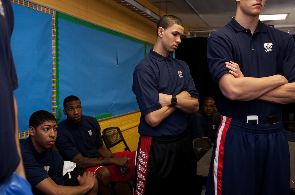 {June 27, 2012} {4:00pm} -- New York, NY, U.S.A.Duke basketball star Austin Rivers listens to members of the Dunlevy Milbank Boys & Girls Club in Harlem before the NBA draft Thursday in Manhattan, New York on June 27, 2012. .