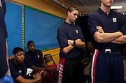 {June 27, 2012} {4:00pm} -- New York, NY, U.S.A.Duke basketball star Austin Rivers listens to members of the Dunlevy Milbank Boys & Girls Club in Harlem before the NBA draft Thursday in Manhattan, New York on June 27, 2012. .