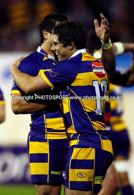 Bay 2nd five Phil Burleigh celebrates his try, Air NZ Cup, NPC rugby union. Bay of Plenty v Canterbury. Bay Park Stadium, Mt Maunganui. 5 September 2009. Photo: William Booth/PHOTOSPORT