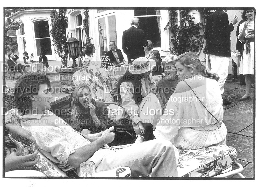 Party given by Tony Hickox in Henley 1982 approx. © Copyright Photograph by Dafydd Jones 66 Stockwell Park Rd. London SW9 0DA Tel 020 7733 0108 www.dafjones.com