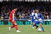 Bristol Rovers forward Kyle Bennett takes on George Williams (2) of Milton Keynes Dons during the EFL Sky Bet League 1 match between Bristol Rovers and Milton Keynes Dons at the Memorial Stadium, Bristol, England on 12 October 2019.
