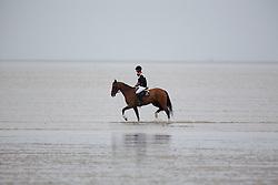 Guerdat Steve, (SUI), Nino Des Buissonnets <br /> Beach training in the morning<br /> Longines Jumping International de La Baule 2015<br /> © Hippo Foto - Dirk Caremans<br /> 16/05/15