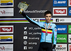 Podium / Bjorg Lambrecht of Belgium Silver medal /  Celebration / during the Men Under 23 Road race a 179.9km race from Kufstein to Innsbruck 582m at the 91st UCI Road World Championships 2018 / RR / RWC / on September 28, 2018 in Innsbruck, Austria. Photo by Vid Ponikvar / Sportida