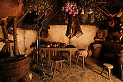 Scene showing the inside of a typical Gallic hut. Image taken from the filming of 'Paris la ville a remonter le temps' written by Carlo de Boutiny and Alain Zenou, directed by Xavier Lefebvre, a Gedeon Programmes production. Picture by Manuel Cohen