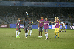 October 14, 2017 - Kolkata, West Bengal, India - New Caledonia player celebrates after the Japan and New Caledonia Group E match in Kolkata.Player of Japan and New Caledonia in action during the FIFA U 17 World Cup India 2017 Group F match on October 14, 2017 in Kolkata. (Credit Image: © Saikat Paul/Pacific Press via ZUMA Wire)