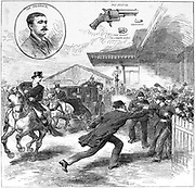 Roderick McClean shooting at Queen Victoria at Windsor railway station.  From 'The Illustrated London News', 11 March 1882.