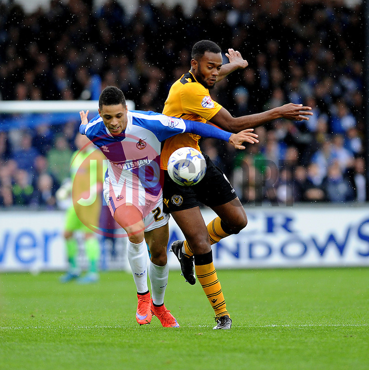 Daniel Leadbitter of Bristol Rovers is challenged by Zak Ansah of Newport County - Mandatory byline: Neil Brookman/JMP - 07966 386802 - 24/10/2015 - FOOTBALL - Memorial Stadium - Bristol, England - Bristol Rovers v Newport County AFC - Sky Bet League Two