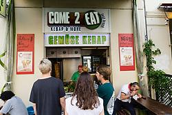 Small takeaway vegetable kebab shop on Bergmannstrasse in Kreuzberg Berlin Germany