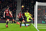 The ball rebounds off the crossbar from a shot by Mateo Kovacic (17) of Chelsea during the Premier League match between Bournemouth and Chelsea at the Vitality Stadium, Bournemouth, England on 30 January 2019.