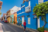 Cartagena , Colombia  - March 9, 2017 : Colorful streets of Centro Historico<br /> area of Cartagena de los indias Bolivar in Colombia South America