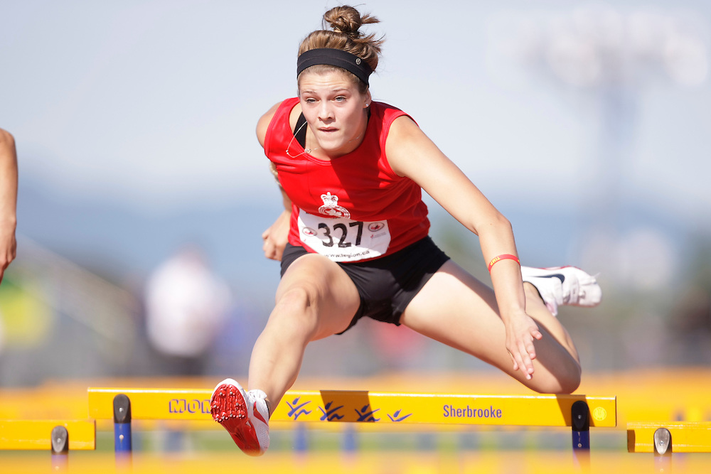 Sherbrooke, Quebec ---08/08/09---  Alysha Newman of Ontario competes at the 2009 Legion Canadian Youth Track and Field Championships in Sherbrooke, Quebec, August 08, 2009..HO/ Athletics Canada (credit should read GEOFF ROBINS/Mundo Sport Images/ Athletics Canada)..