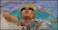 March 1, 2014 - Atlanta, GA.:  Florida International swimmer Johanna Gustafsdottir, Reykjavik, Iceland, breathes inside a giant air bubble during the 2014 Conference USA women 200 yard backstroke in Atlanta, Georgia on Saturday, March 1, 2014 at Georgia Tech.  She won first place with a time of 1:55.05. Johnny Crawford © 2014