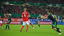 VIENNA, AUSTRIA - Thursday, October 6, 2016: Wales' Joe Allen scores the first goal against Austria during the 2018 FIFA World Cup Qualifying Group D match at the Ernst-Happel-Stadion. (Pic by David Rawcliffe/Propaganda)