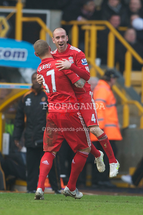 WOLVERHAMPTON, ENGLAND - Saturday, January 22, 2011: Liverpool's Raul Meireles celebrates scoring the second goal against Wolverhampton Wanderers during the Premiership match at Molineux. (Photo by David Rawcliffe/Propaganda)