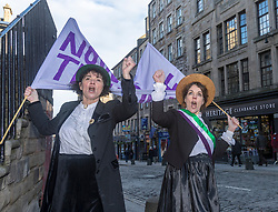 Lea Taylor and Nicola Wright who are performing in The Purple, White and Green: The Story of the Scottish Suffragettes at The Scottish Storytelling Centre. The play was written to mark this year's centenary of women's right to vote.