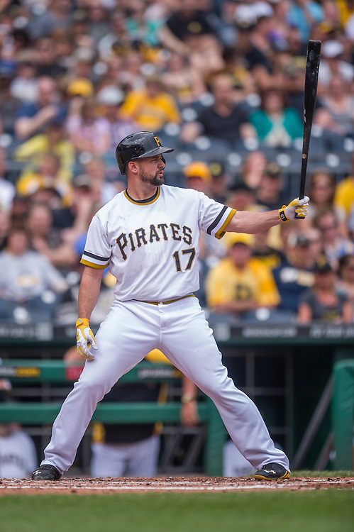 PITTSBURGH, PA - JUNE 08: Gaby Sanchez #17 of the Pittsburgh Pirates bats during the game against the Milwaukee Brewers at PNC Park on June 8, 2014 in Pittsburgh, Pennsylvania. (Photo by Rob Tringali) *** Local Caption *** Gaby Sanchez