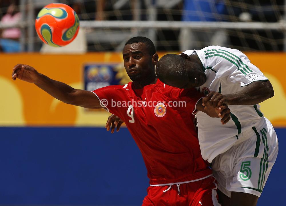 Football-FIFA Beach Soccer World Cup 2006 - Group D- Nigeria - Bahrain, Beachsoccer World Cup 2006. Nigeria's Okpara and Bahrain`s Salem   - Rio de Janeiro - Brazil 06/11/2006. Mandatory credit: FIFA/ Manuel Queimadelos