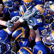 Delaware player huddle prior to the  Division I FCS Championship Semifinals against Georgia Southern. No. 3 Delaware leads Georgia Southern 10-0 on a cold Saturday afternoon at Delaware stadium in Newark Delaware..
