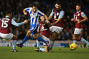 Brighton & Hove Albion centre forward Sam Baldock is crowded out by the Villa defence during the EFL Sky Bet Championship match between Brighton and Hove Albion and Aston Villa at the American Express Community Stadium, Brighton and Hove, England on 18 November 2016. Photo by Bennett Dean.