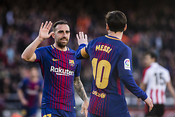 March 18, 2018 - Barcelona, Spain - BARCELONA, SPAIN - MARCH 18: 17 Paco Alcazer from Spain of FC Barcelona celebrating his goal with 10 Leo Messi from Argentina of FC Barcelona during La Liga match between FC Barcelona v Atletic de Bilbao at Camp Nou Stadium in Barcelona on 18 of March, 2018. (Credit Image: © Xavier Bonilla/NurPhoto via ZUMA Press)