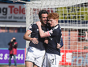 1st April 2018, Dens Park, Dundee, Scotland; Scottish Premier League football, Dundee versus Heart of Midlothian; Sofien Moussa of Dundee celebrates his equalising goal with Simon Murray
