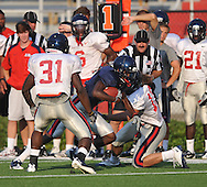 Ole Miss running back Devin Thomas (29) runs during a scrimmage at Vaught-Hemingway Stadium in Oxford, Miss. on Saturday, August 20, 2011.