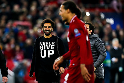 Mohamed Salah of Liverpool celebrates victory over Barcelona to make the Champions League Final - Mandatory by-line: Robbie Stephenson/JMP - 07/05/2019 - FOOTBALL - Anfield - Liverpool, England - Liverpool v Barcelona - UEFA Champions League Semi-Final 2nd Leg