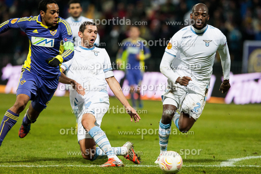 Marcos Tevares #9 of Maribor and Senad Lulic #19 of S.S. Lazio and Michael Ciani #2 of S.S. Lazio during football match between NK Maribor and S. S. Lazio Roma  (ITA) in 6th Round of Group Stage of UEFA Europa league 2013, on December 6, 2012 in Stadium Ljudski vrt, Maribor, Slovenia. (Photo By Gregor Krajncic / Sportida)