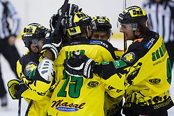 Players of EHC Palaoro Lustenau celebrate scoring a goal during Inter National League ice hockey match between HK Triglav Kranj and EHC Palaoro Lustenau, on October 7, 2012 in Ledena Dvorana, Kranj, Slovenia. (Photo by Matic Klansek Velej / Sportida.com)