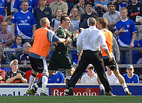 Photo: Ashley Pickering.<br /> Ipswich Town v Derby County. Coca Cola Championship. 14/04/2007.<br /> Derby goalie Stephen Bywater is restrained by team mates and stewards after he is sent off along with Alex Bruce of Ipswich