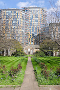 © Licensed to London News Pictures. 23/04/2016. Southwark, UK Hopton Almshouses in Hopton Street, Southwark, London are dwarfed by the housing development 'Neo Bankside'. The Almshouses have 20 flats for sheltered housing whilst a penthouse at Neo Bankside sells for over £6million. . Photo credit : Stephen Simpson/LNP
