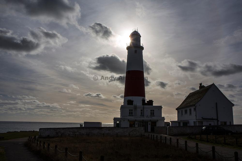 A silhouette of Portland Bill lighthouse, Portland Bill, Dorset, UK