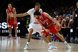 12.09.2014, City Arena, Madrid, ESP, FIBA WM, Frankreich vs Serbien, Halbfinale, im Bild France´s Batum (L) and Serbia´s Teodosic // during FIBA Basketball World Cup Spain 2014 semifinal match between France and Serbia at the City Arena in Madrid, Spain on 2014/09/12. EXPA Pictures © 2014, PhotoCredit: EXPA/ Alterphotos/ Victor Blanco<br /> <br /> *****ATTENTION - OUT of ESP, SUI*****