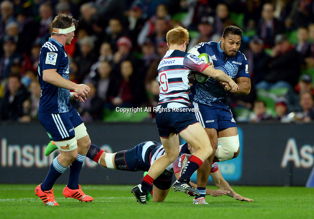 George Moala (Blues)<br /> Auckland Blues vs Melbourne Rebels<br /> Rugby Union - 2015 Investec Super Rugby <br /> AAMI Park, Melbourne Australia<br /> Friday 8th May 2015<br /> &copy; Sport the library / Jeff Crow